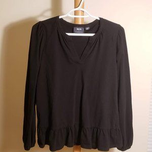Anthropologie (Maeve) Black Ruffled Top (Size XS)